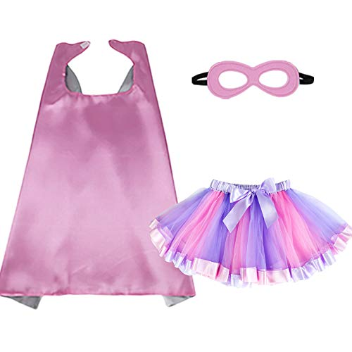 BREEZEIE Kids Dress Up Superhero Cape and Mask With Tutu Dress For Girls Pretend Playing Party Costumes, Pink-silver, 70cm70cm