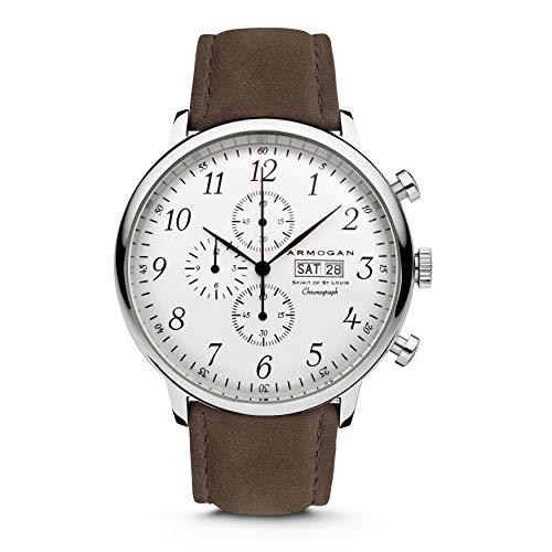 Armogan Spirit of St. Louis - White Chocolate - Men's Chronograph Watch Suede Leather Strap
