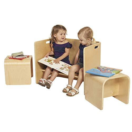 ECR4Kids Natural Bentwood Multipurpose Kids Wooden Chair Set, 3-Piece TABLE, Small