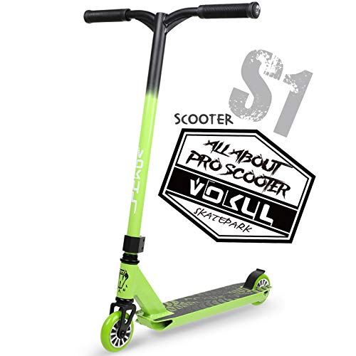 VOKUL TRII S Freestyle Tricks Pro Stunt Scooter - Best Entry Level Pro Scooter - 20' W23.2 H CrMo4130 Chromoly Handlebar - Reinforced 20' L4.1 W Deck,Integral Stable Performance …