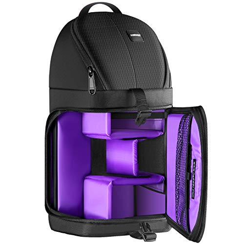 Neewer Professional Sling Camera Storage Bag Durable Waterproof and Tear Proof Black Carrying Backpack Case for DSLR Camera, Lens & Accessories (Purple Interior)