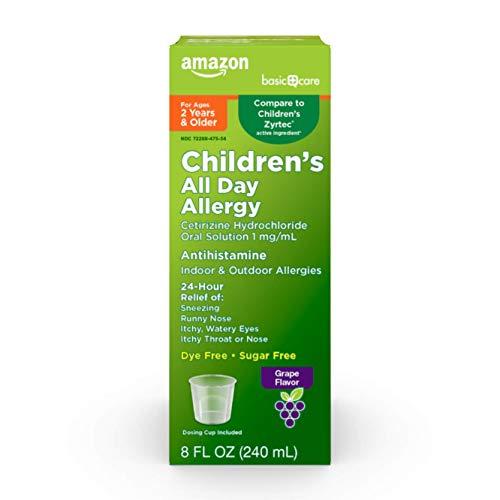 Amazon Basic Care Children's All Day Allergy, Cetirizine Hydrochloride Oral Solution 1 mg/mL, Grape Flavor, 8 Fluid Ounces
