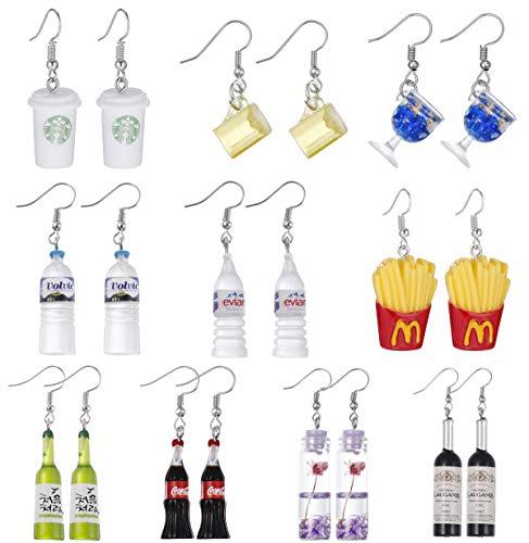 Mixed Acrylic Bottle Earrings Set, Funny Statement Dangle Drop Resin Water Bottle Pendant Earrings, Fashion Unique Personalized Bohemian Hoop Earring Jewelry Gift for Women