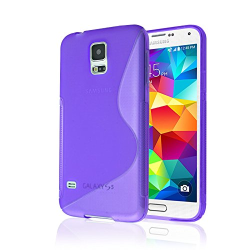 Galaxy S5 Case, [Rubber] Galaxy S5 Case, by Cable and Case(TM) - Transparent Purple Non-Slip Soft Jelly Phone Cover with Vibrant Trendy Colors and Sure Grip Texture (Galaxy S5)