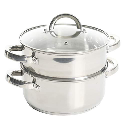 Oster Sangerfield Stainless Steel Cookware, 3.0-Quart Casserole Set w/Steamer Insert, 1
