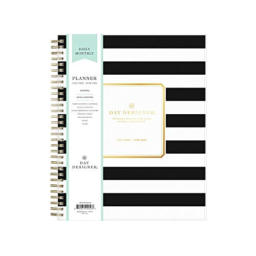 Day Designer for Blue Sky 2020-2021 Academic Year Daily & Monthly Planner, Frosted Flexible Cover, Twin-Wire Binding, 8' x 10', Black Stripe (120053)