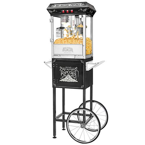 5810 Great Northern Black Good Time 8oz Full Popcorn Popper Machine w/ Cart, 8 Ounce