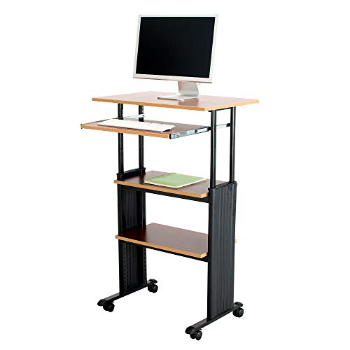 Safco Products Muv 35-49'H Stand-Up Desk Adjustable Height Computer Workstation with Keyboard Shelf, Cherry