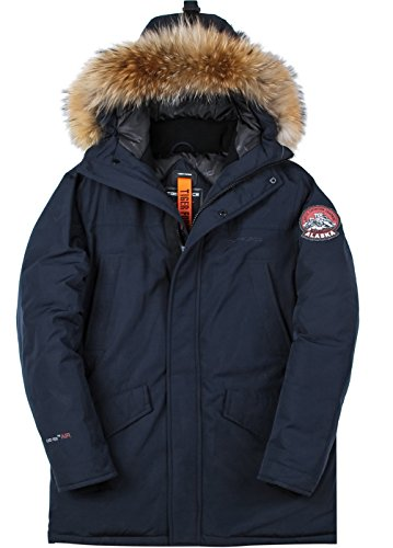 TIGER FORCE Mens Parka Jacket Waterproof Cotton Quilted Coat Winter Outwear with Real Fur Hood Thick Outdoor Snowjacket Dark Blue