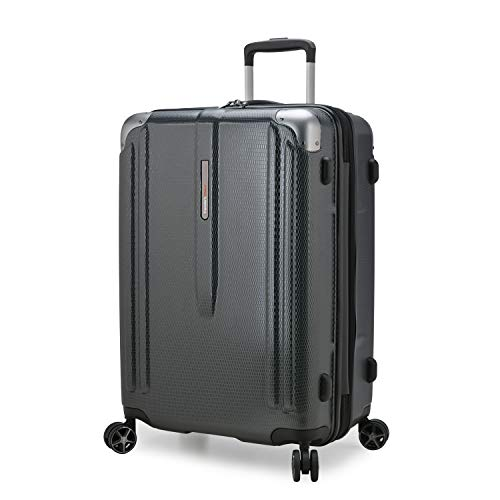Traveler's Choice New London II Hardside Expandable Spinner Luggage, Gray, Checked-Medium 26-Inch