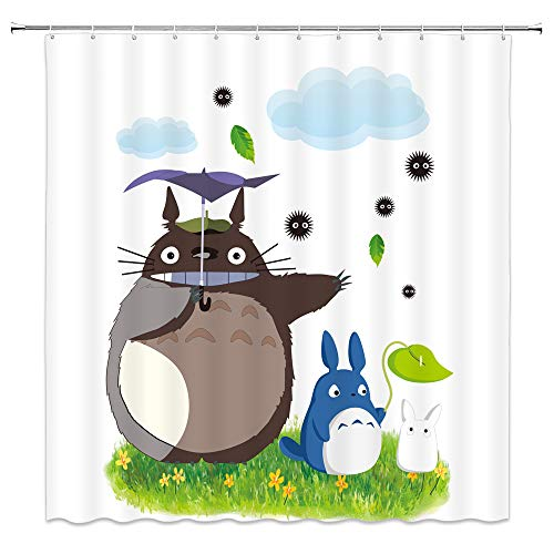 Totoro Shower Curtain, Cute Japanese Anime Animal Lovely Totoro with Umbrella Flower Grass for Kids Fabric Bathroom Decor Sets with 12 Hooks,71X71 Inchs,Green Tan
