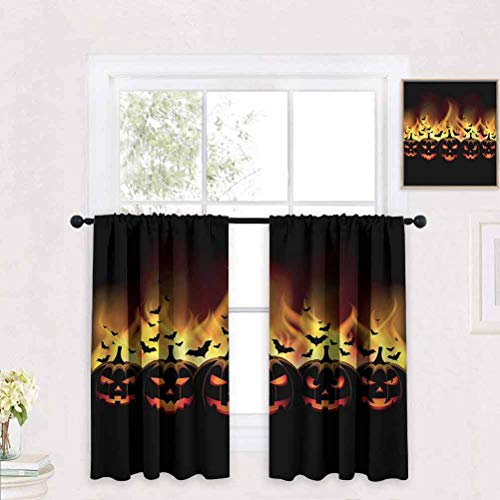 Becanbe Living Room Curtains 2 Total Panel Size: W 39' x H 55' Vintage Halloween,Jack o Lanterns,Rod Pocket Drapes Thermal Insulated Panels Home décor