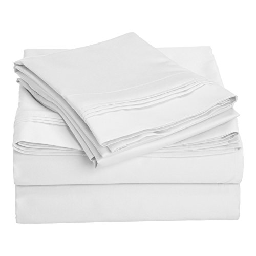 SUPERIOR 1000 Thread Count 100% Egyptian Cotton, California King Bed Sheet Set, Single Ply, Solid, White