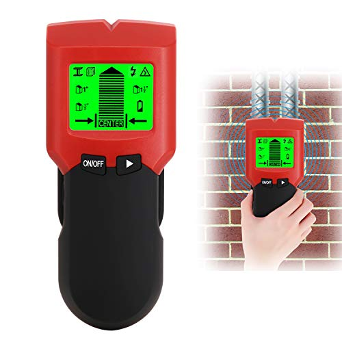 Stud Finder, 5 in 1 Multi Function Electronic Stud Sensor Finders Wall Detector Center Finding with LCD Display Sound Warning for Wood/Live AC Wire/Metal/Studs Detection