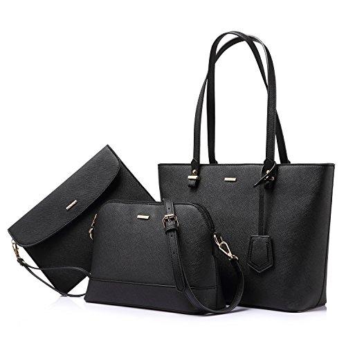 Handbags for Women Shoulder Bags Tote Satchel Hobo 3pcs Purse Set Black