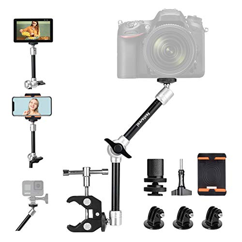 11' Adjustable Heavy Duty Robust Magic Arm, DSLR Mirrorless Action Camera Camcorder Smartphone LCD Monitor Video Light Vlog Rig w/ Desk Pole Clamp Holder Mounts Kit fit for GoPro iPhone (10 lbs Load)