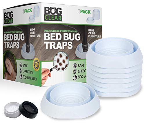 Bed Bug Traps Detectors Interceptor Trap 8 Pack (White) - High Grade Professional | No Talcum or Chemicals | Beds Cribs Furniture