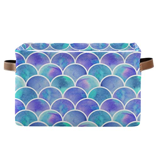 Rectangular Storage Bin Mermaid Canvas Fabric with Handles - Square Storage Baskets for Shelves/Gift Baskets/Toy Organizer/Baby Room Decor