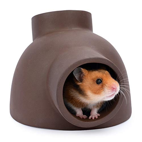 Niteangel Ceramic Hamster Tunnel & Tubes Hideout: for Dwarf Robo Syrian Hamsters Mice Rats or Other Small Animals (Corner)