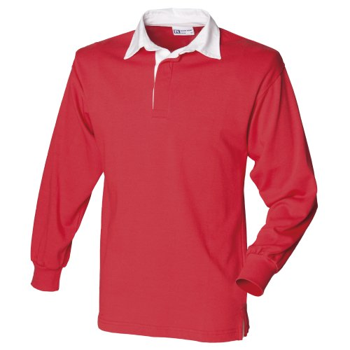 Front Row Long Sleeve Plain Rugby Shirt Red/White XL