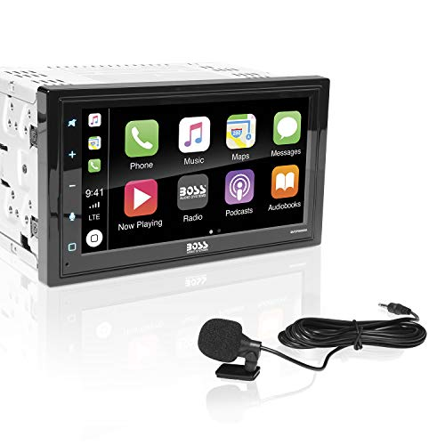 BOSS Audio Systems BVCP9685A Apple CarPlay Android Auto Car Multimedia Player - Double Din, 6.75 Inch LCD Touchscreen Monitor, Bluetooth Audio and Hands-Free Calling, USB, A/V Input, AM/FM Car Radio