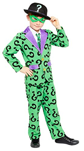 Boys The Riddler Batman Villain TV Book Film Halloween Fancy Dress Costume Outfit 4-12 Years (4-6 Years)
