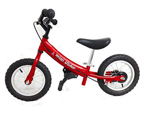 Mini Glider Kids Balance Bike with Patented Slow Speed Geometry (Red)