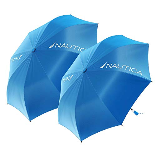 Nautica 2-Person Umbrella - Large, Portable, Lightweight & Folding - Best Windproof Umbrellas for Rain, Sun & Wind Resistant Protection, Collapsible Two Person Coverage in Blue 2-Pack