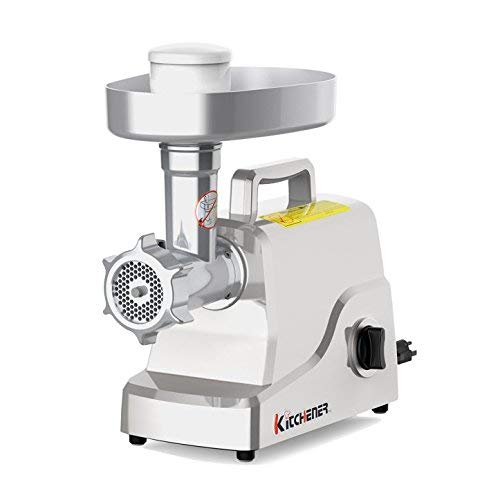 Kitchener Heavy Duty Electric Meat Grinder 2/3 HP (500W), 3-Speed with Stainless Steel Cutting Blade, 2 Stainless Steel Grinding Plates and Stainless Steel Stuffing Plate