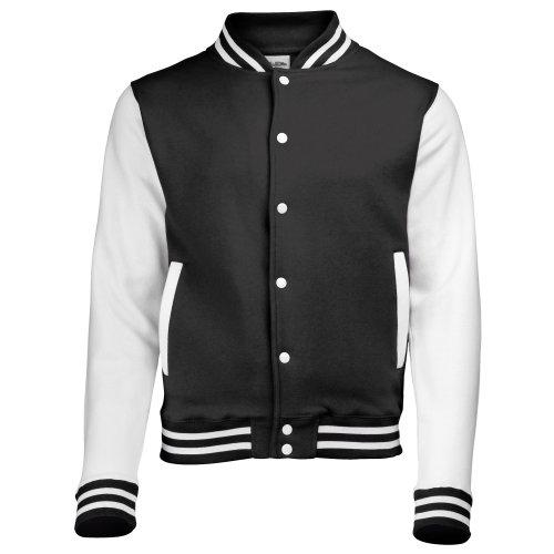 AWDis Unisex Varsity Jacket Medium Jet Black / White