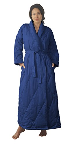 Warm Things Quilted Down Robe Navy/M 12-14