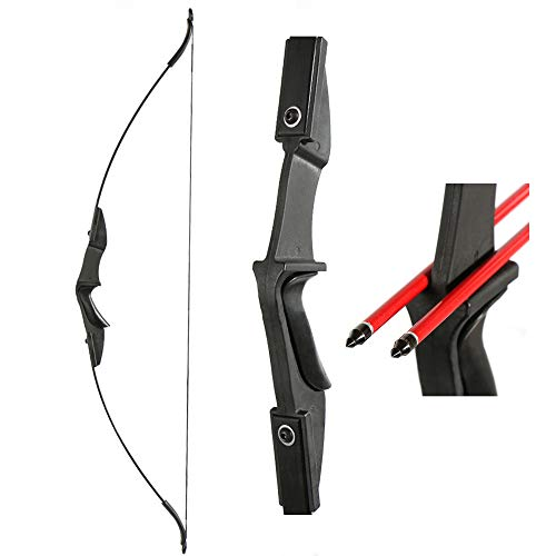 TOPARCHERY Archery 57' Takedown Youth Recurve Bow Hunting Black Long Bow for Beginner Teenagers Right Left Hand Black - Draw Weight 20lbs 30lbs (20)