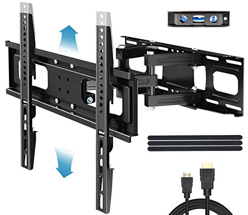 Everstone Full Motion TV Wall Mount with Height Adjustment for Most 32-65 inch LED, LCD, OLED Flat&Curved TVs, Bracket Swivel Articulating Arms Extension Tilt up to VESA 400mm, 121lbs, 16' Wood Stud
