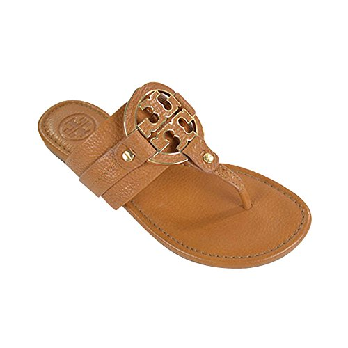 Tory Burch Amanda Flat Thong Tumbled Leather Sandals Royal Tan Size 7.5