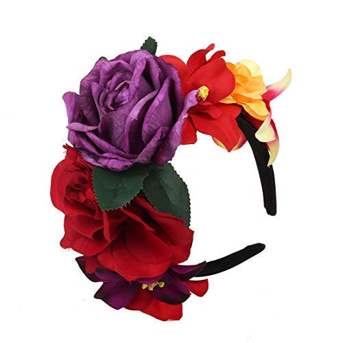 DDazzling Frida Flower Crown Mexican Headpiece Day of The Dead Floral Crown Halloween Floral Headband (Multicoloured)