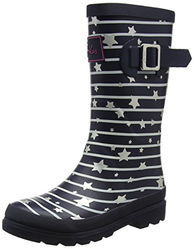 Joules Girls' JNRGIRLSWLY Rain Boot, Navy Star Stripe, 13 Medium US Toddler