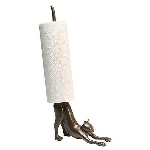 What On Earth Yoga Cat Paper Towel Holder - Cast Iron Stretching Cat Counter Top