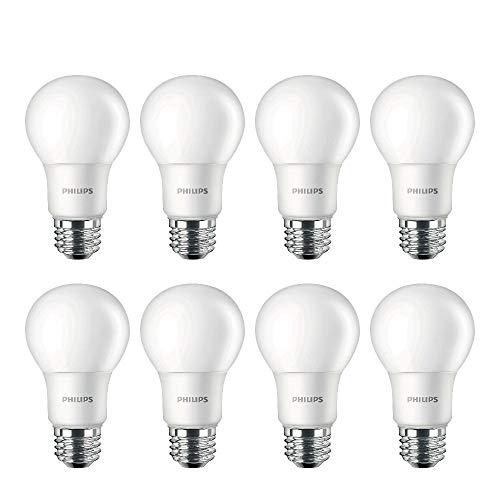 Philips LED Non-Dimmable A19 Frosted Light Bulb: 1500-Lumen, 5000-Kelvin, 12.5 Watt (100-Watt Equivalent), E26 Medium Screw Base, Daylight, 4 pack of 2 units each