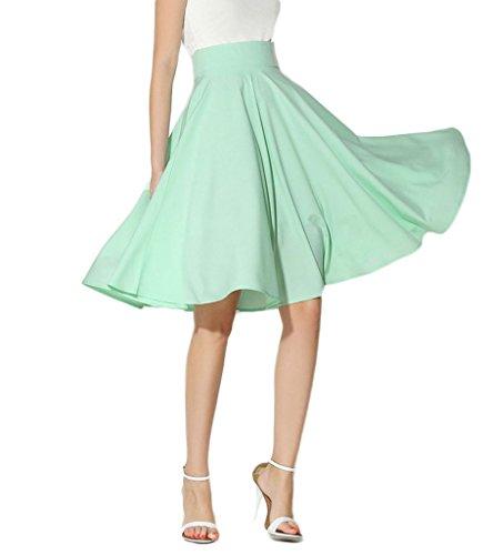 Persun Women's Light Green Basic Flared High Waist Midi Skater Skirt,LightGreen,X-Large