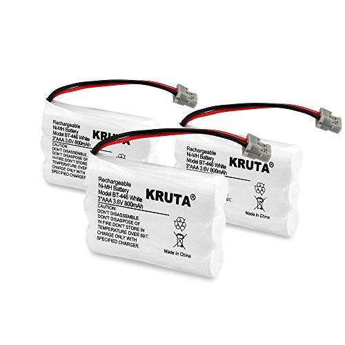 Kruta BT-446 Rechargeable Cordless Phone Battery for Uniden BT-446 BT446, BP-446 BP446, BT-1005 BT1005, TRU9460, TRU9465, TRU9480, TCX-800 (Pack 3)