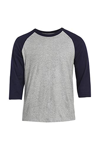 Men's 3/4 Sleeve Raglan Cotton Baseball Tee Shirt (S, Navy/Light Gray)