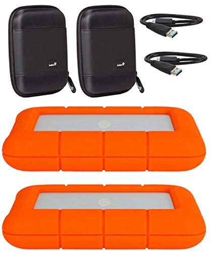 LaCie 2 Pack 4TB Rugged Mini USB 3.0 2.5' Portable External Hard Drives Compatible with Mac and PC - Water and Drop Resistance with Ivation Compact Cases Compatible with LaCie LAC9000633 Hard Drive