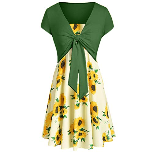 TUSANG Women Skirt Casual Summer Cami Flower Dress with Crop T-Shirt Slim Fit Waist with Loose Fit Hem