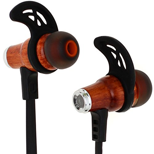 Symphonized NRG Bluetooth Wireless Wood in-Ear Noise-isolating Headphones, Earbuds, Earphones with Mic & Volume Control (Black)