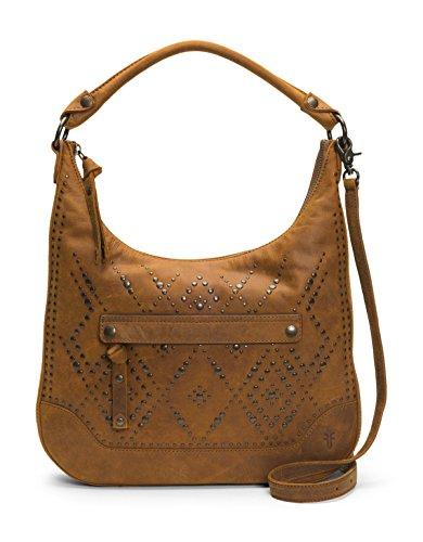 FRYE Melissa Studded Large Zip Hobo Handbag, brown