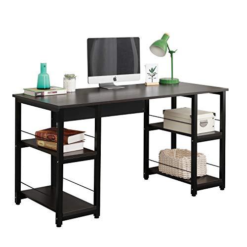 Soges Home Office Desk 55 inches Computer Desk, Morden Style Desk with Shelves Worksation Desk, Black DZ012-140-H
