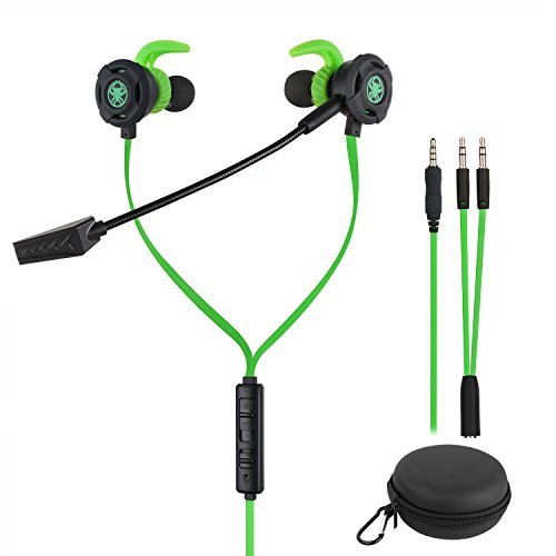 BlueFire 3.5 MM Wired Gaming Earphone Noise Cancelling Stereo Bass Gaming Headphone E-Sport Earphone with Adjustable Mic for PS4, Xbox One, Laptop, Cellphone, PC (Green)