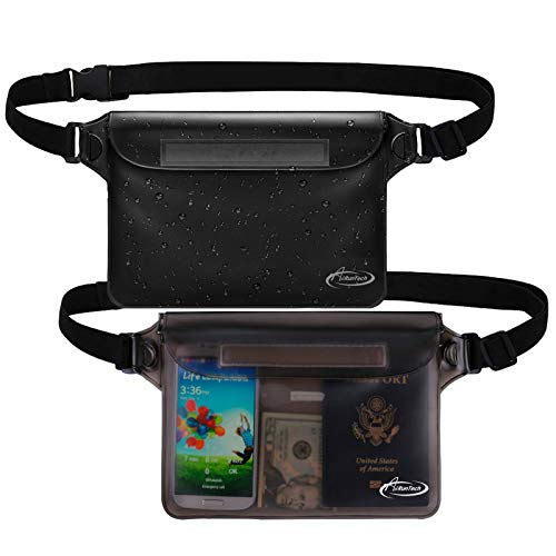AiRunTech Waterproof Pouch with Waist Strap (2 Pack)   Beach Accessories Best Way to Keep Your Phone and Valuables Safe and Dry   Perfect for Boating Swimming Snorkeling Kayaking Beach Pool Water Park