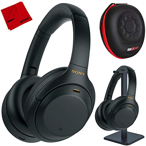 Sony WH1000XM4/B Premium Noise Cancelling Wireless Over-The-Ear Headphones with Built in Microphone Black Bundle with Deco Gear Hard Case + Pro Audio Headphone Stand + Microfiber Cleaning Cloth