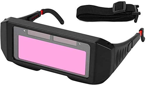 1 Pair LCD Solar Power Auto Darkening Welding Goggle, Safety Protective Welder Glasses with Adjustable Shade, 2 Sensors Welder Glasses for TIG MIG MMA Plasma